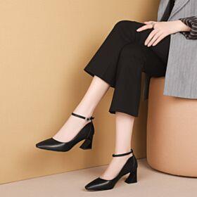 Chunky Heel Klassisch Business Schuhe Damen Knöchelriemen Leder Runde Zeh Pumps Schwarz