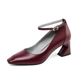 Round Toe Ankle Strap Classic Office Shoes Pumps Shoes Mid Heels Leather Thick Heel Burgundy