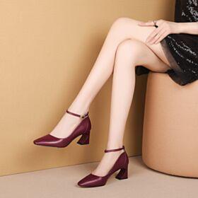 Bride Cheville Bordeaux Classique Chaussures De Travail Escarpins Talon Carrés Talon Mid Bout Rond
