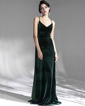Samt Rückenfreies Lange Vintage Dunkelgrün Abendkleider Schlichte Spaghettiträger Trauzeugin Kleid
