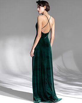 Open Back Spaghetti Strap Bridesmaid Dresses Sweetheart Sleeveless Dark Green Spring Evening Dress Vintage Velvet