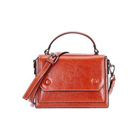 Klein Überschlagtasche Business Umhängetasche Satchel Bag Crossbody Mit Griffe Klassisch Leder Braun Full Grain