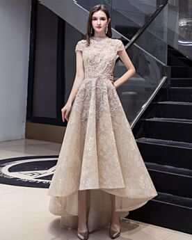 Hochgeschlossene Vokuhila Wadenlang Spitzen Champagner Vintage Brautkleider Elegante