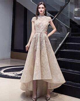 Vintage Lace Outdoor Tea Length Wedding Dress High Low Turtleneck