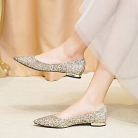 Chaussure Mariée Bout Pointu Paillette Or Champagne Glitter Ballerine Femme Plate