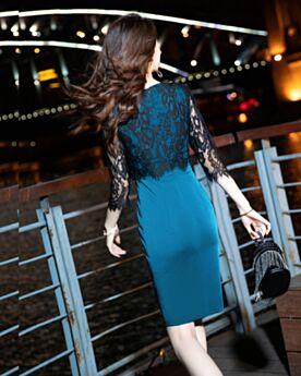 Azul Jade Corto Vestidos De Coctail Vestidos Semi Formales Vestidos De Fiesta Media Manga Ajustados Sencillos
