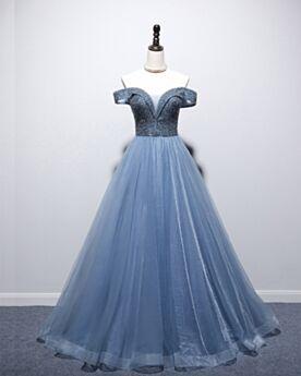 Dos Nu Princesse Bleu Robe De Soirée Chic Longue Glitter Epaule Dénudée
