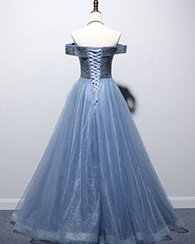 A Line Summer Beading Cute Evening Dress Dark Blue Glitter Off The Shoulder Low Cut Short Sleeve Long