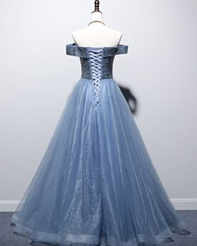 Corte A Bonitos Con Manga Corta Vestidos De Noche Azul Noche Espalda Descubierta Hombros Caidos Escotados Largos Vestidos Para Fiesta