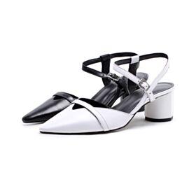 Con Cinturino Alla Caviglia Nere Sandali Tacco Largo Tacco Medio 5 cm Pelle A Punta