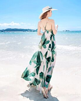 Summer Empire Beachwear Bohemian Olive Green Open Back Chiffon Dresses Maxi Spaghetti Strap