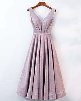 Cocktail Dress Tea Length Flounce 2019 Glitter Graduation Dress Sparkly Plunge Blushing Pink Open Back Fit And Flare