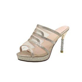 Tacco Alto Scarpe Cerimonia Glitter Spuntate Sandali Luccicante Oro Tacchi A Spillo