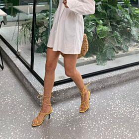 Chic Tacchi Spillo Con Lacci Schiava Sandali Donna Gialle Tacco Medio 7 cm