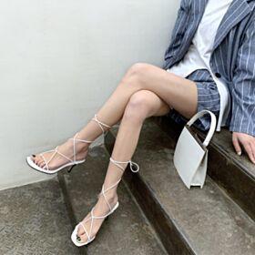 Sandalen Gladiator Strappy Schattige Stiletto 7 cm Heels Leren