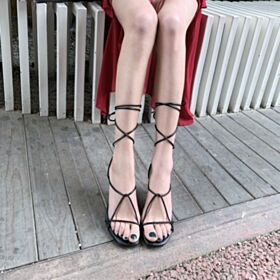 Tacco Medio Sandali Gladiatore Con Lacci Nere Pelle Casual
