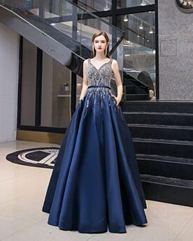 Rückenfreies Festliche Kleider Kristall Dunkelblaues Lange Vintage Quinceanera Kleider