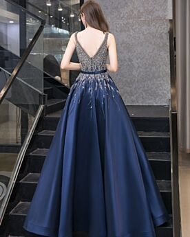Vintage Long Backless Plunge Satin Quinceanera Dresses Princess Sweet 16 Dress