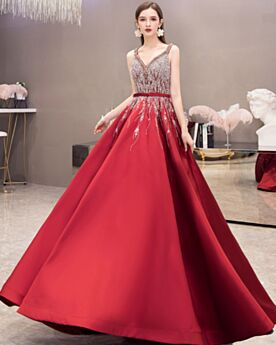 Sweet 16 Dress With Rhinestones Crystal Backless Plunge A Line Quinceanera Dresses Long Vintage Satin