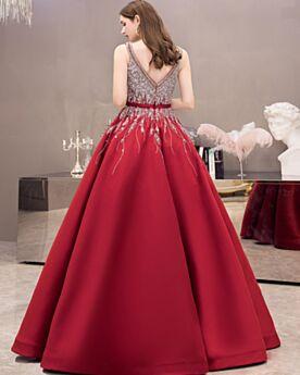 Konfirmationskleider A Linie Lange Quinceanera Kleid Ärmellos Tiefer Ausschnitt Rot