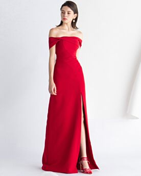 Simple Satin Evening Dresses Red Off The Shoulder Occasion Gowns Vintage Empire Long Wedding Guest Dresses