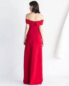 Off Shoulder Schlichte Rot Abendkleid Vintage Empire Hochzeitsgäste Kleider Mit Schlitz Rückenfreies