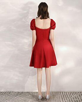 Acampanados Cortos Espalda Descubierta Color Vino Vestidos Semi Formales Con Manga Corta Vestidos De Invitada Boda