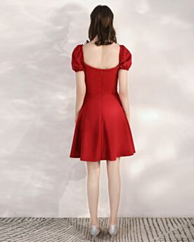 Burgundy Short Wedding Party Dress Fit And Flare Satin Backless Semi Formal Dresses