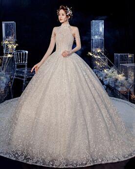 Princesse Col Haut À Frange Robe De Mariée Epaule Nu Luxe Dentelle