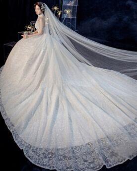 Brautkleider Spitzen A Linie Schulterfreies Hochgeschlossene Mit Fransen Mit Schleppe
