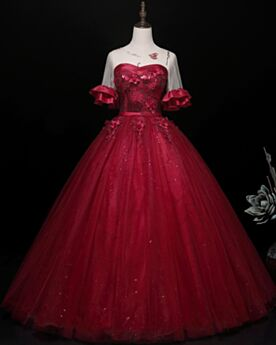 Burgundy Beautiful Ball Gowns Sequin Backless Quinceanera Dresses Prom Dress Ruffle Tulle