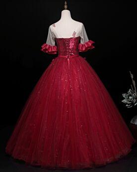 Princesa Largos Espalda Descubierta Vestidos De 15 Años Escote Corazon Vestidos Para Fiesta Color Vino Elegantes Lentejuelas
