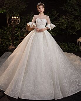 Elegante Herrlich Brautkleider Transparentes Perlen Lange Herz Ausschnitt Halbe Ärmel Rückenfreies Glitzernden Pailletten