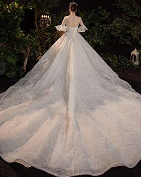 Abiti Sposa Con Perline Bellissimi Trasparente Eleganti Avorio Luccicante Mezza Manica Maniche A Campana Lunghi