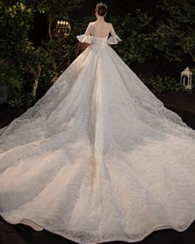 Tulle See Through Ivory Long Sequin Backless Beading Elegant Outdoor Wedding Dresses Luxury Sparkly Princess