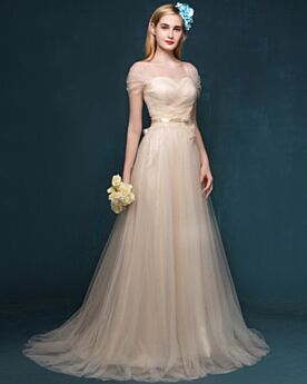 Beige Long Elegant Evening Dresses Backless With Train Princess Prom Dresses Tulle Bridesmaid Dress Pleated Appliques Dress For Special Occasion