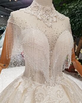 Iglesia Con Cuentas Lujo Transparente Con Flecos Con Purpurina Elegantes Tul Escotados Princesa Blanco Cuello Alto Con Encaje Vestidos De Novia