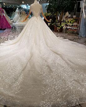 Bianche Glitter Trasparenti Eleganti Collo Alto Scollati 2019 Luccicante Con Frange Con Schiena Scoperta Principessa Abiti Da Sposa