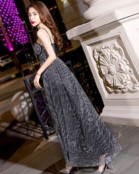 Brillante Sexy Empire Longue Plissée Cristal Robe De Soirée Dos Nu Robe De Ceremonie Robe De Bal Évasée Sequin Noire