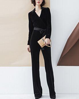 Printemps Velours Longue Robe Bureau Noir Col V Cigarette Col Claudine Manche Longue Chemise Combinaison Pantalon