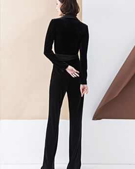 Maxi Cigarette Black Jumpsuits Long Sleeved Office Dress Velvet Fashion Shirt