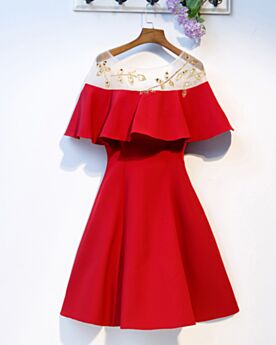 Cocktail Dresses Ruffle Simple Fit And Flare Red Semi Formal Dress Dress For Wedding Short