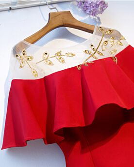 Vestidos Invitada Boda Hombros Caidos Sencillos Rojo Corto Vestidos Semi Formales Con Volantes Acampanados Con Manga Corta