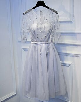 Cocktail Dresses Half Sleeve Simple Silver Beaded Short Dress For Wedding Skater Bridesmaid Dresses