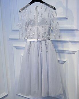 Courte Robe Cocktail 2019 Simple Argenté Robe Demoiselle D honneur Robe Pour Mariage Demi Manche
