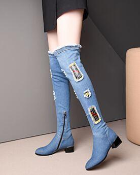 Moderne Jeans  5 cm Talons Bout Rond Talons Carrés Bleu Clair Cuissardes Bottes Hautes Stretch Déchiré
