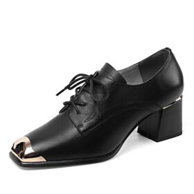 Leather Matte Oxford Shoes For Women Shooties Block Heels Lace Up Black 6 cm Mid Heel