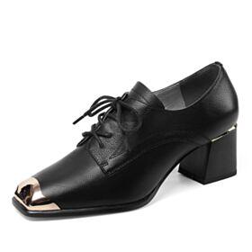 Oxford Schuhe Damen Blockabsatz Schwarz Mit Absatz Chunky Heel