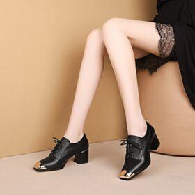 Cordones De Piel Tacon Ancho Oficina Modernos Negros Zapatos Oxford Tacon De 6 cm