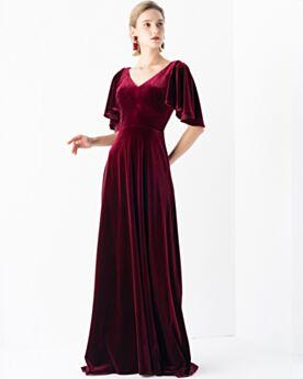 Balze Lunghi Eleganti Di Velluto Bordeaux Schiena Scoperta Impero Vestito Mamma Sposa Abiti Cerimonia
